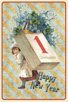 Vintage New Year Card by cazcastalla