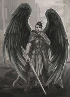Warrior angel in post apocalyptic ruins by BrentWoodside