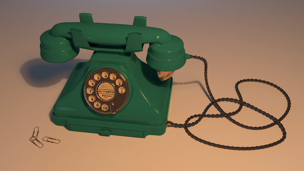 Telephone (old-timey), 3D by BlueBitArt