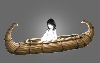 Glowing kid with black hair on a reed boat by Littlecutter