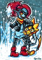 Inktober 27 - Undyne and Alphys by Agui-chan