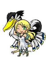 Cynthia And Loftwing -Commish1- by Linkerbell