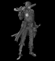 W20180701 - Post Apocalyptic Pirate (greyscale) by StMan