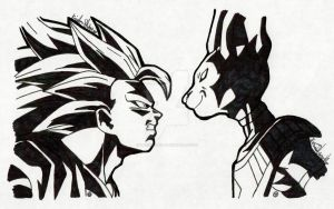 SSJ3 Goku vs Lord Beerus:Sharpie Art by Daringashia