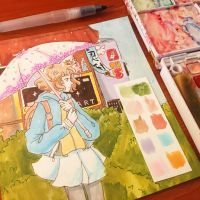 Hanasaku Iroha Traditional Watercolor by pomifumi
