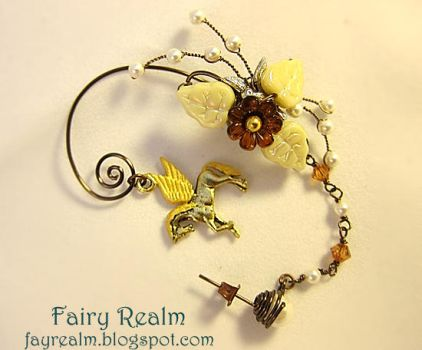 Pegasus In The Cream Brown Forest Ear Cuff by woohoo80