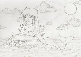 Mermaid over the sea [Sketch] by 2D-Dipper