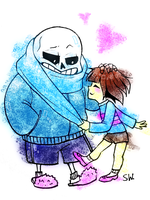 Sans and frisk: the scarf by Witequeen