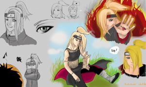 Deidara scetches by santichan