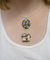 Flying House with Balloons Necklace by paperfaceparade