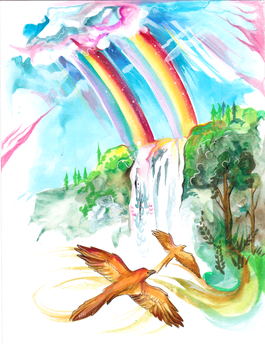 18-Rainbows, Waterfalls, and Birds with Gold Wings by Lucky978