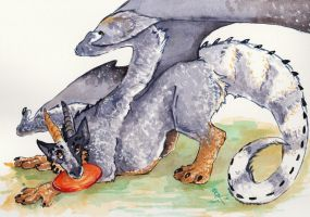 Commission - Blue Cattle Dog Dragon by Dragon--Feathers