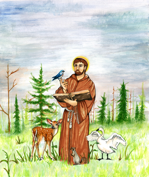 On This Lovely Day: St. Francis of Assisi by AquarelleSplash