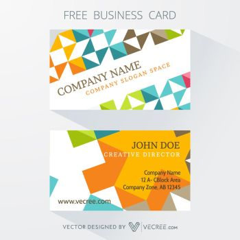 Colorful Business Card Design Free Vector by vecree