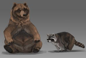 Stupid bear and also raccoon by Chickenbusiness