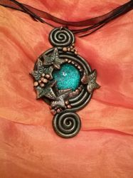Antique Laurel - handmade polymer clay necklace by Gyemese