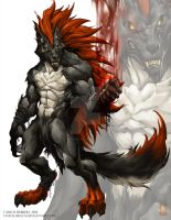 Red werewolf 2 COMISSION WORK by Chaos-Draco