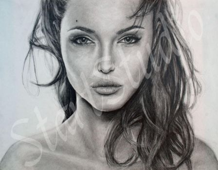 Angelina Jolie drawing by JamiePickering