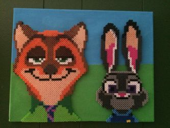 Zootopia Nick and Judy Perler Bead on canvas by SonicStarWolfshadow2