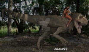 A girl and her dinosaur by ANGELREAPER1972
