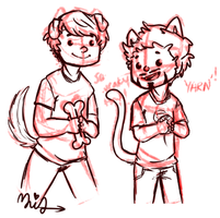 Puppy!Steve and Kitten!Tony by MiraTho