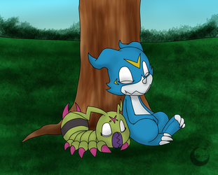 AT.- Wormmon y Veemon by CoteTR