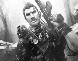 Sketch: Borderlands 2: Axton by steven-donegani