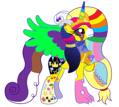 OC Ref: Queen Mary Awesomesauce the Alicorn Hybrid by SilverRomance