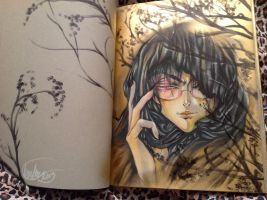Crow in sketchbook by Giname