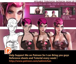 Bad ass girl Tutorial pack by sakimichan