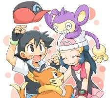 Ash, Dawn, Aipom, and Buizel