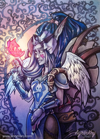 Commission: night elves couple by AyrinKey