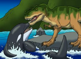 Rexy Meets Free Willy by TyrannoNinja