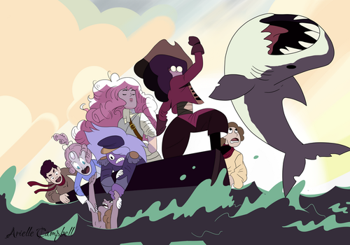 Crystal Gems on the high seas by MermaidSoupButtons