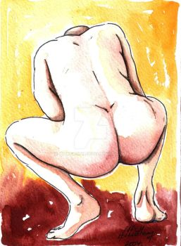 Male Nude. Red + Yellow 5 by Pinkpasty