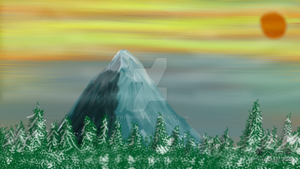 Mountain at Sunset - Digital Painting by kwhammes