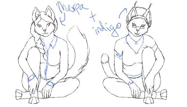 Therpa and Indigo poses WIP by ChocolateQuill