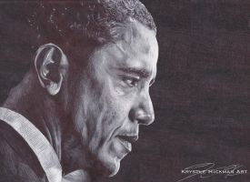 President Barack Obama BiC Pen Drawing by TheKrystleGallery