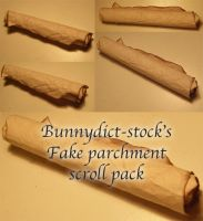 Fake parchment scroll pack by Bunnydict-stock