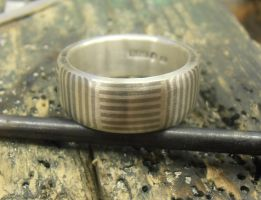 Mokume Mosaic band Silver and Palladium by fairyfrog