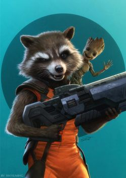 Rocket Raccoon and Baby Groot by yinyuming
