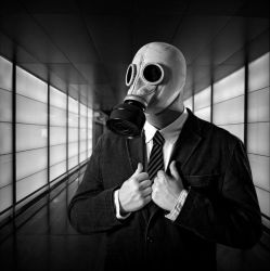 Masked man in black by peka-photography