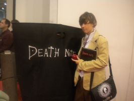 Light Yagami and a Death Note at NYCC 2011 by XPockyDemonX