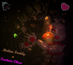 [FNAF6|SFM] Funtime Chica x Molten Freddy by evilfeather