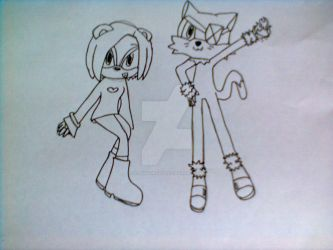 Meep the Panda and Cato the Cat ORIGINAL LINE ART by sonikkuruzu
