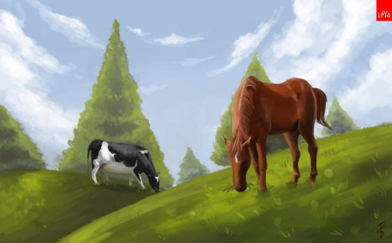 Cow and Horse by bAkiKA