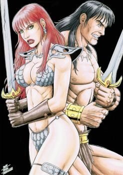 RED SONJA and CONAN by TIAGO-FERNANDES