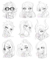 Semi Chibi Headshot Batch 1 by Toffee-Tama