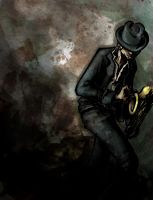 Tom Waits Caresses a Saxaphone by cowboypunk