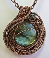 Labradorite, Crystal and Antiqued Copper Pendant by HeatherJordanJewelry